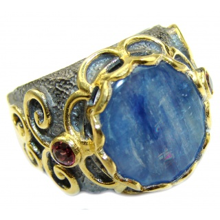 Huge Natural 26ct Kyanite .925 Sterling Silver ITALY MADE ring size 6