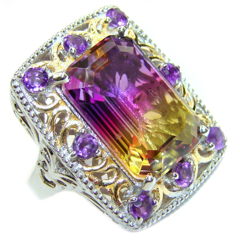 Huge Top Quality Ametrine .925 Sterling Silver handcrafted Ring s. 7