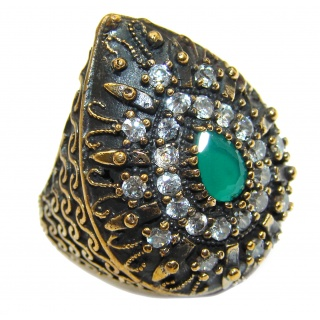 Victorian Style created Emerald & White Topaz Copper over Sterling Silver ring; s. 6 3/4