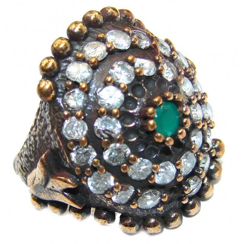 Victorian Style created Emerald & White Topaz Sterling Silver Ring s. 7