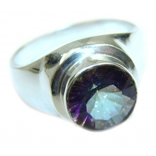 Huge Exotic Magic Topaz .925 Sterling Silver handcrafted Ring s.11