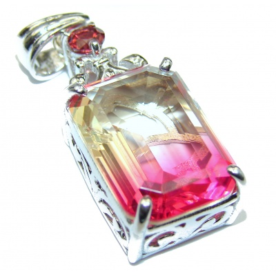 Deluxe Octagon cut Pink Topaz 14K Gold over .925 Sterling Silver handmade Pendant