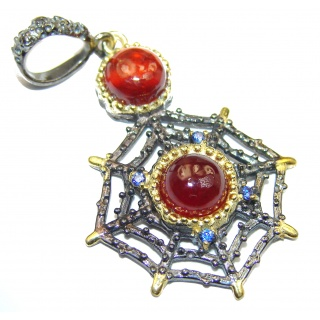 Positive Energy genuine Garnet 14K Gold over .925 Sterling Silver handcrafted Pendant