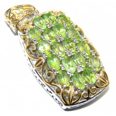 Beautiful genuine Peridot 14K Gold over .925 Sterling Silver handcrafted Pendant