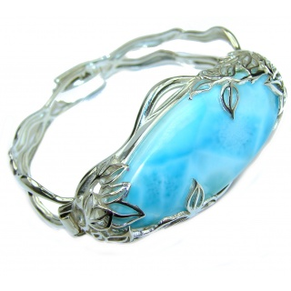Incredible quality Genuine Blue Larimar .925 Sterling Silver handmade Bracelet Cuff