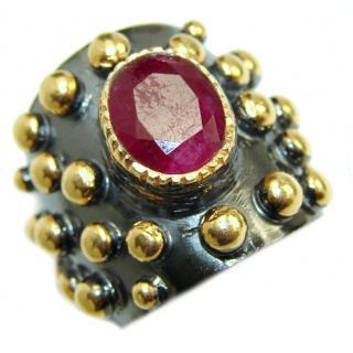 Vintage Design Genuine 25ct Ruby 14K Gold over .925 Sterling Silver handmade Ring size 5 1/2