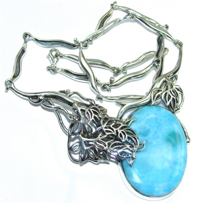 Huge Great Masterpiece genuine 115 ct Larimar .925 Sterling Silver handmade necklace