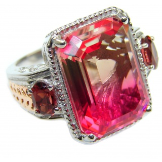 HUGE Top Quality Magic Volcanic Pink Tourmaline Topaz .925 Sterling Silver handcrafted Ring s. 6 3/4