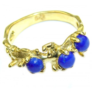 Ocean Inspired Lapis Lazuli 14K Gold over .925 Sterling Silver handmade Cocktail Ring s. 7 1/4