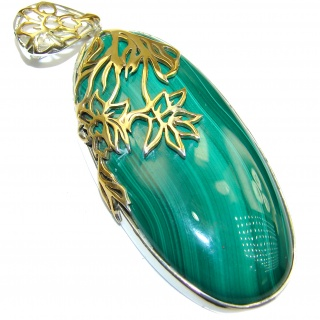 HUGE Top Quality Malachite 18K Gold over .925 Sterling Silver handmade Pendant