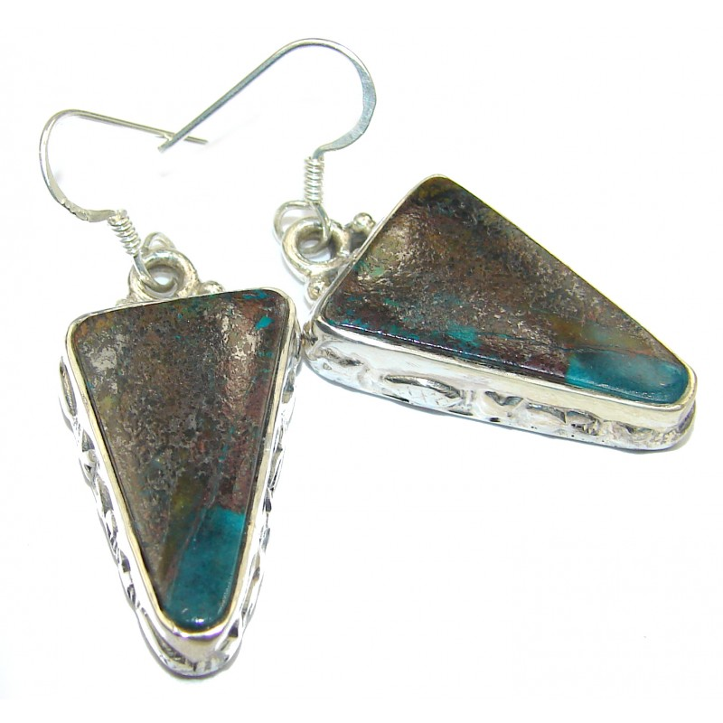 Precious Azurite .925 Sterling Silver handmade earrings