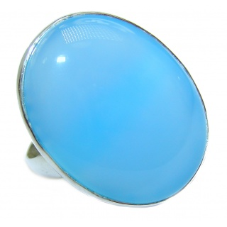 Blue Chalcedony Agate .925 Sterling Silver handcrafted Ring s. 7 adjustrable