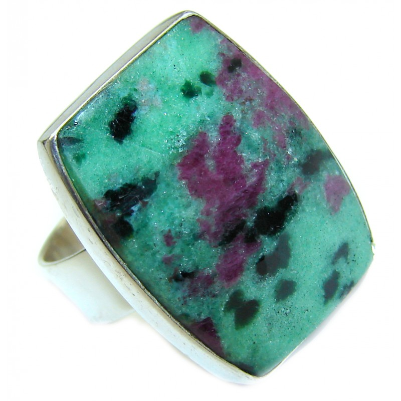 Ruby in Zoisite .925 Sterling Silver handmade Cocktail Ring s. 6 adjustable