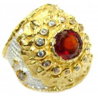 Large genuine Ruby 18K Gold over .925 Sterling Silver Statement Italy made ring; s. 7