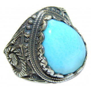 Vintage Design Natural Larimar .925 Sterling Silver handcrafted Ring s. 7