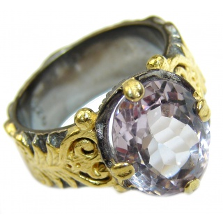 Spectacular genuine Pink Amethyst 14K Gold over .925 Sterling Silver handcrafted Ring size 6