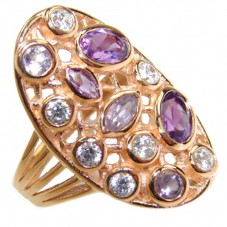 Amethyst Topaz 14K Gold over .925 Sterling Silver handmade Cocktail Ring s. 7