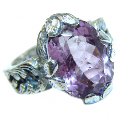 Vintage Style Amethyst .925 Sterling Silver handmade Cocktail Ring s. 6 1/4