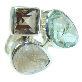 Natural Green Amethyst .925 Sterling Silver handmade Cocktail Ring s. 6 adjustable