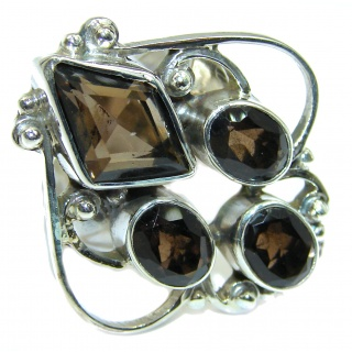 Bold Champagne Smoky Topaz .925 Sterling Silver Ring size 7