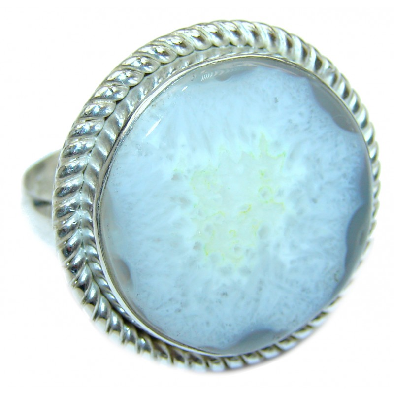 Exotic Druzy Agate Sterling Silver Ring s. 9