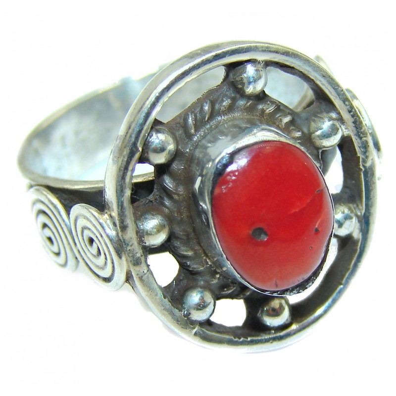 Natural Fossilized Coral .925 Sterling Silver handmade ring s. 8