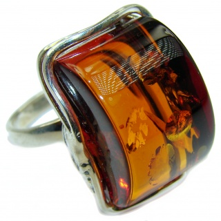 Authentic Baltic Amber .925 Sterling Silver handcrafted ring; s 8 adjustable