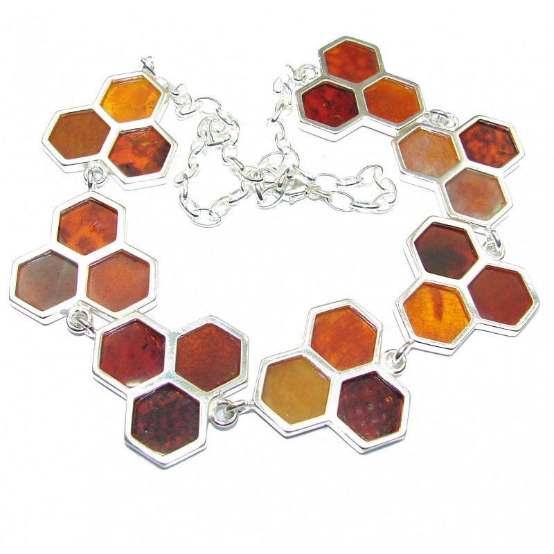 Incredible Honeycombs Natural Baltic Amber .925 Sterling Silver handcrafted necklace