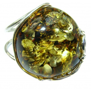 H U G E Authentic Green Baltic Amber .925 Sterling Silver handcrafted ring; s 8 adjustable