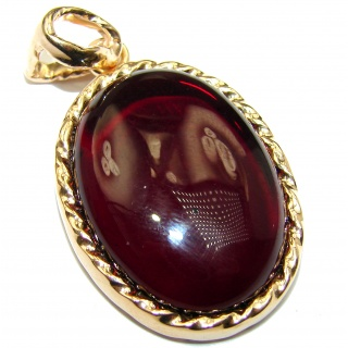 Real Treasure Natural Baltic Amber 18K Gold over .925 Sterling Silver handmade Pendant
