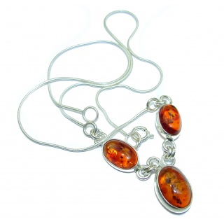 Natural Beauty Multi color Baltic Amber .925 Sterling Silver handmade necklace