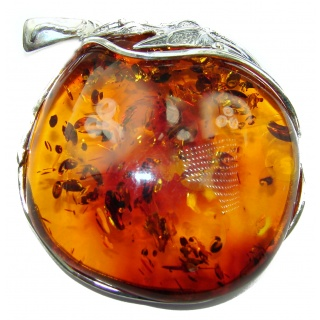 Huge and Beautiful Natural Baltic Amber .925 Sterling Silver handmade Pendant
