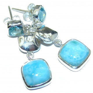 Blue Legacy Larimar Swiss Blue Topaz .925 Sterling Silver handmade earrings