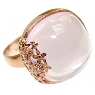 Best Quality Rose Quartz Rose Gold over .925 Sterling Silver handcrafted ring s. 8