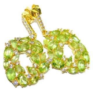 Spectacular Authentic Peridot 14K Gold over .925 Sterling Silver handmade earrings