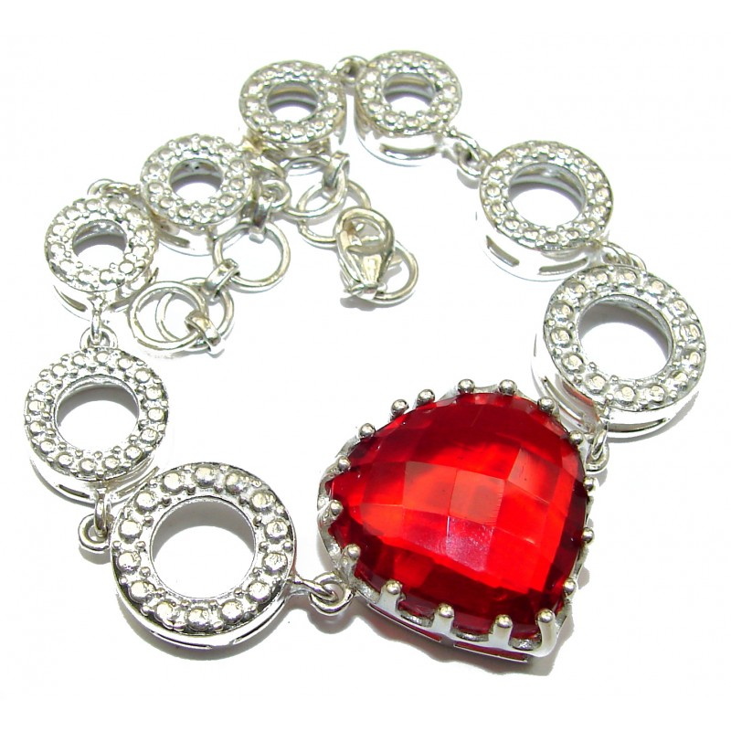 Passion's Hearts Red Quartz .925 Sterling Silver handcrafted Bracelet