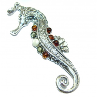 Seahorse Natural Baltic Amber .925 Sterling Silver handmade Pendant