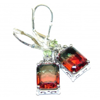 Watermelon Tourmaline color Topaz .925 Sterling Silver entirely handmade earrings