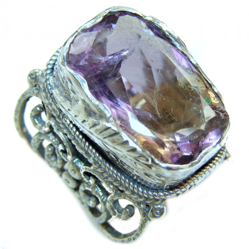 Large Genuine 45ct Ametrine .925 Sterling Silver handcrafted ring; s. 6