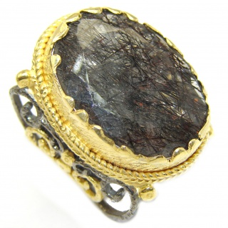 Mysterious Tourmalinated Quartz 14K Gold over .925 Sterling Silver handmad ring s. 4 1/4