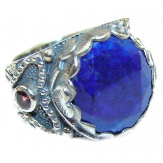 Natural Lapis Lazuli .925 Sterling Silver handcrafted ring size 7