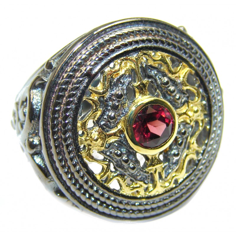 Genuine Garnet 18K Gold over .925 Sterling Silver handmade Cocktail Ring s. 6 1/4