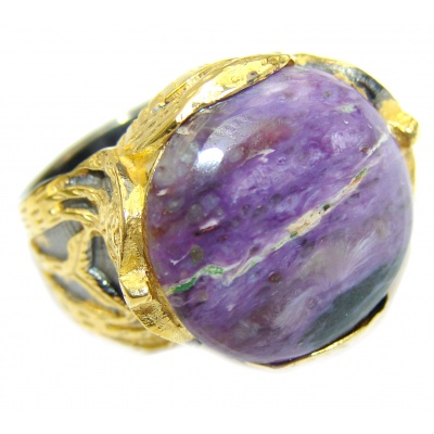 Natural Siberian Charoite 14K Gold over .925 Sterling Silver handcrafted ring size 7