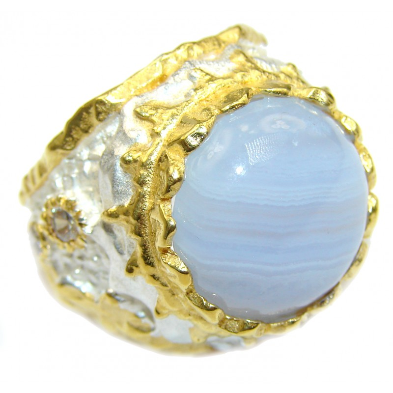 Blue Chalcedony Agate 14K Gold over .925 Sterling Silver handcrafted Ring s. 8