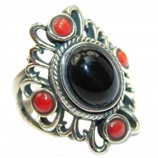 Majestic Authentic Onyx .925 Sterling Silver handmade Ring s. 8 1/2