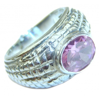 Pink Quartz .925 Sterling Silver handmade ring size 7 1/2