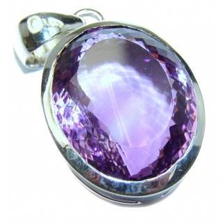 Simple Design 58ct Natural Amethyst .925 Sterling Silver handmade Pendant