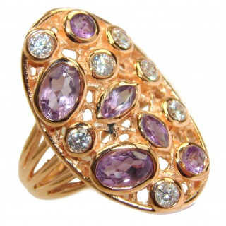 Amethyst Topaz 14K Gold over .925 Sterling Silver handmade Cocktail Ring s. 6