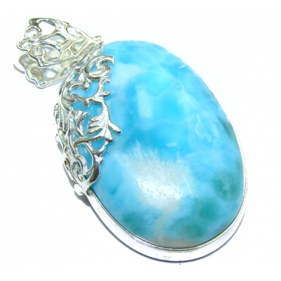 Huge Perfectly Blue Caribbean Larimar .925 Sterling Silver handmade pendant