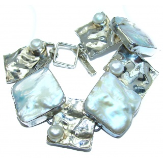 Pale Beauty Mother Of Pearl .925 Hammered handcrafted Sterling Silver Bracelet